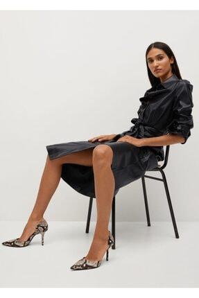 Mango Kadın Kahverengi Yılan Derisi Desenli Topuklu Ayakkabı 4