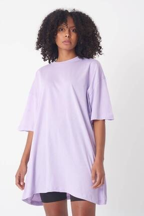 Addax Kadın Lila Oversize T-Shirt P0731 - G6 - K7 Adx-0000020596 0