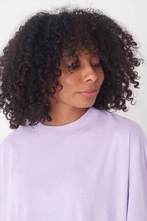 Addax Kadın Lila Oversize T-Shirt P0731 - G6 - K7 Adx-0000020596 4