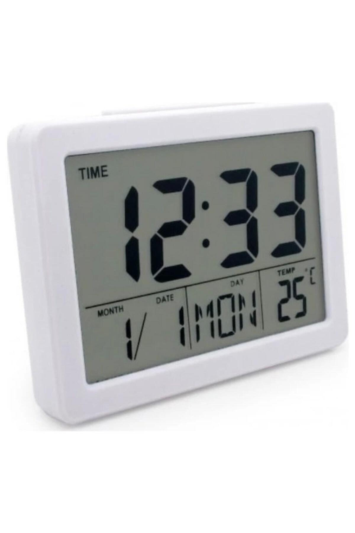Beyaz Dijital Alkış Sensörlü Titreşimli Işıklı Alarmlı Dijital Masa Saati