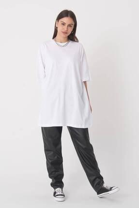 Addax Kadın Beyaz Oversize T-Shirt P0731 - G6 - K7 Adx-0000020596 3