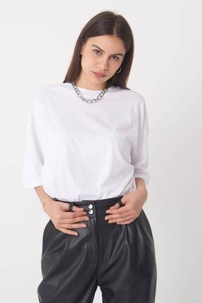 Addax Kadın Beyaz Oversize T-Shirt P0731 - G6 - K7 Adx-0000020596 4
