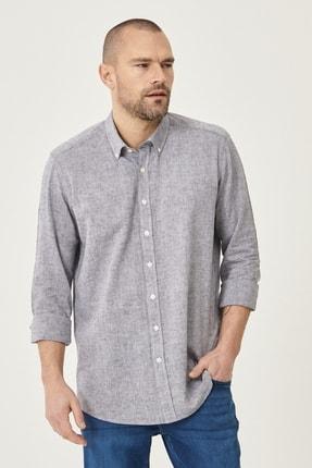 Altınyıldız Classics Erkek Füme Tailored Slim Fit Dar Kesim Düğmeli Yaka Keten Gömlek 1