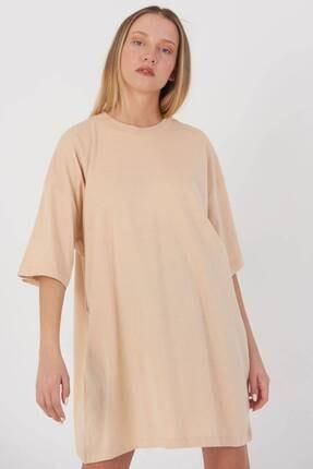 Addax Kadın Bej Oversize T-Shirt P0731 - G6K7 Adx-0000020596 3