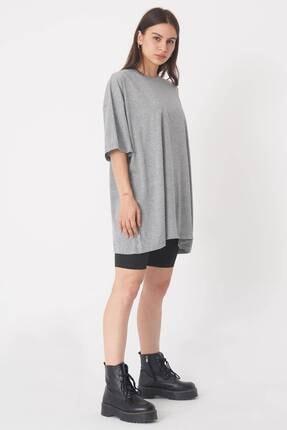 Addax Kadın Gri Melanj Oversize T-Shirt P0731 - G6K7 Adx-0000020596 0