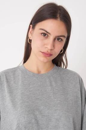 Addax Kadın Gri Melanj Oversize T-Shirt P0731 - G6K7 Adx-0000020596 2