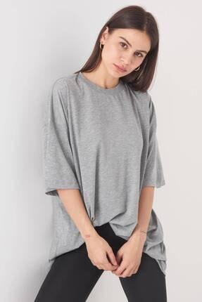 Addax Kadın Gri Melanj Oversize T-Shirt P0731 - G6K7 Adx-0000020596 4