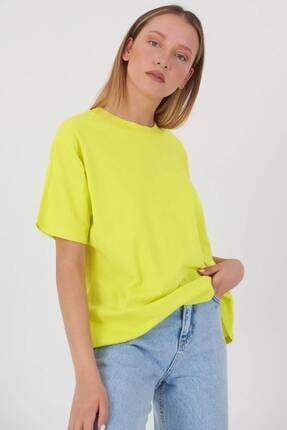 Addax Kadın Fıstık Yeşil Oversize Basic T-Shirt P0730 - J6J7 Adx-0000020569 0