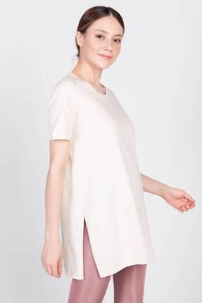Addax Kadın Taş Bisiklet Yaka T-Shirt P0101 - U4Y1 Adx-00007204 0