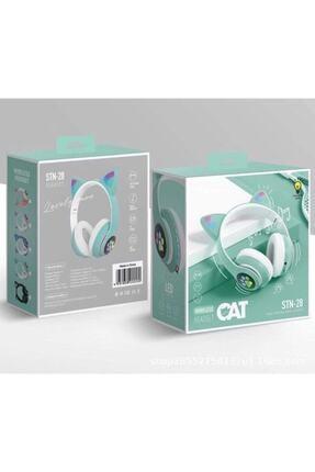 BLUPPLE Kablosuz Bluetooth 5.0 Led Işıklı Sevimli Kedili Şık Tasarım Kulaklık Yeşil Renk 1