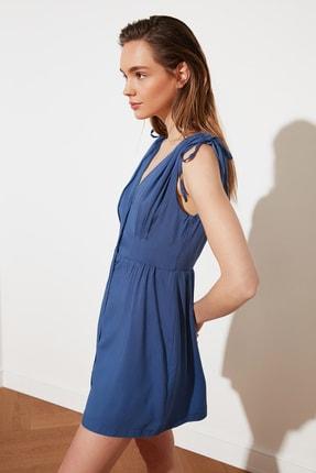 TRENDYOLMİLLA Indigo V Yaka Düğmeli Elbise TWOSS21EL1646 1