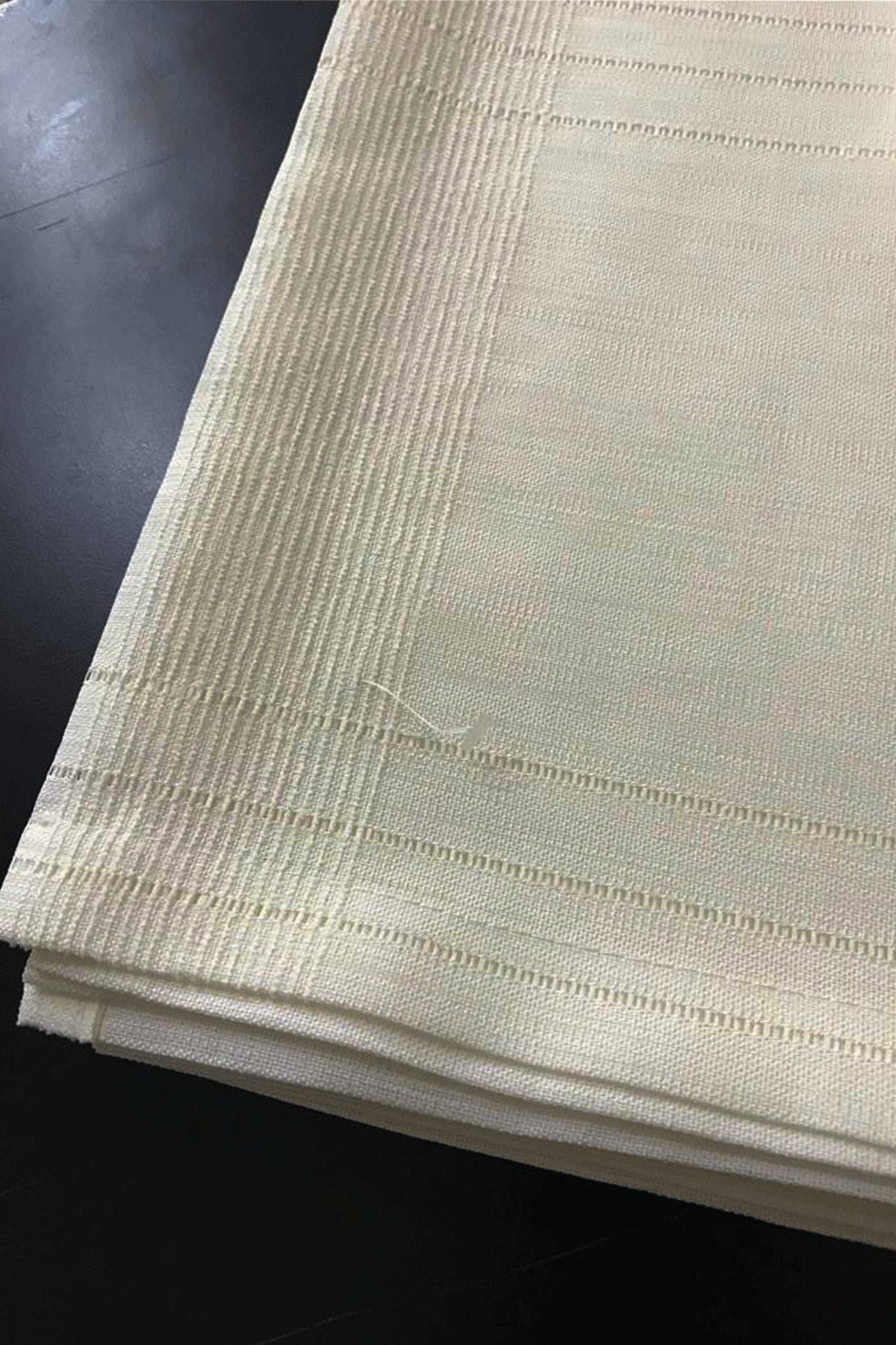erciyesceyiz Beyaz Myslife Ham Keten Kumaş Çizgili Masa Örtüsü 160*220 cm 950 gr Ağırlıklı