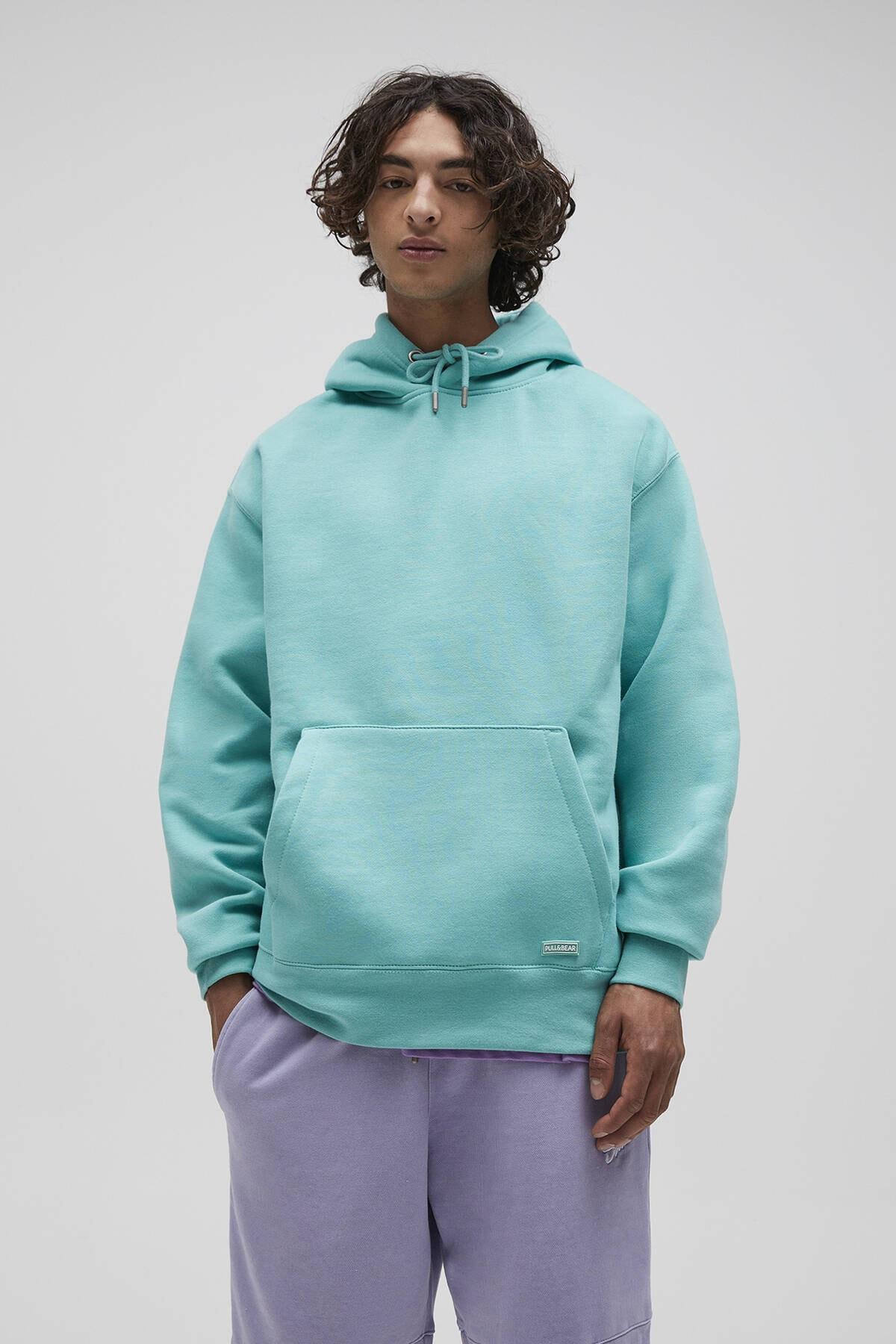 Pull & Bear Erkek Açık Yeşil Basic Comfort Fit Kapüşonlu Sweatshirt 09594913 0
