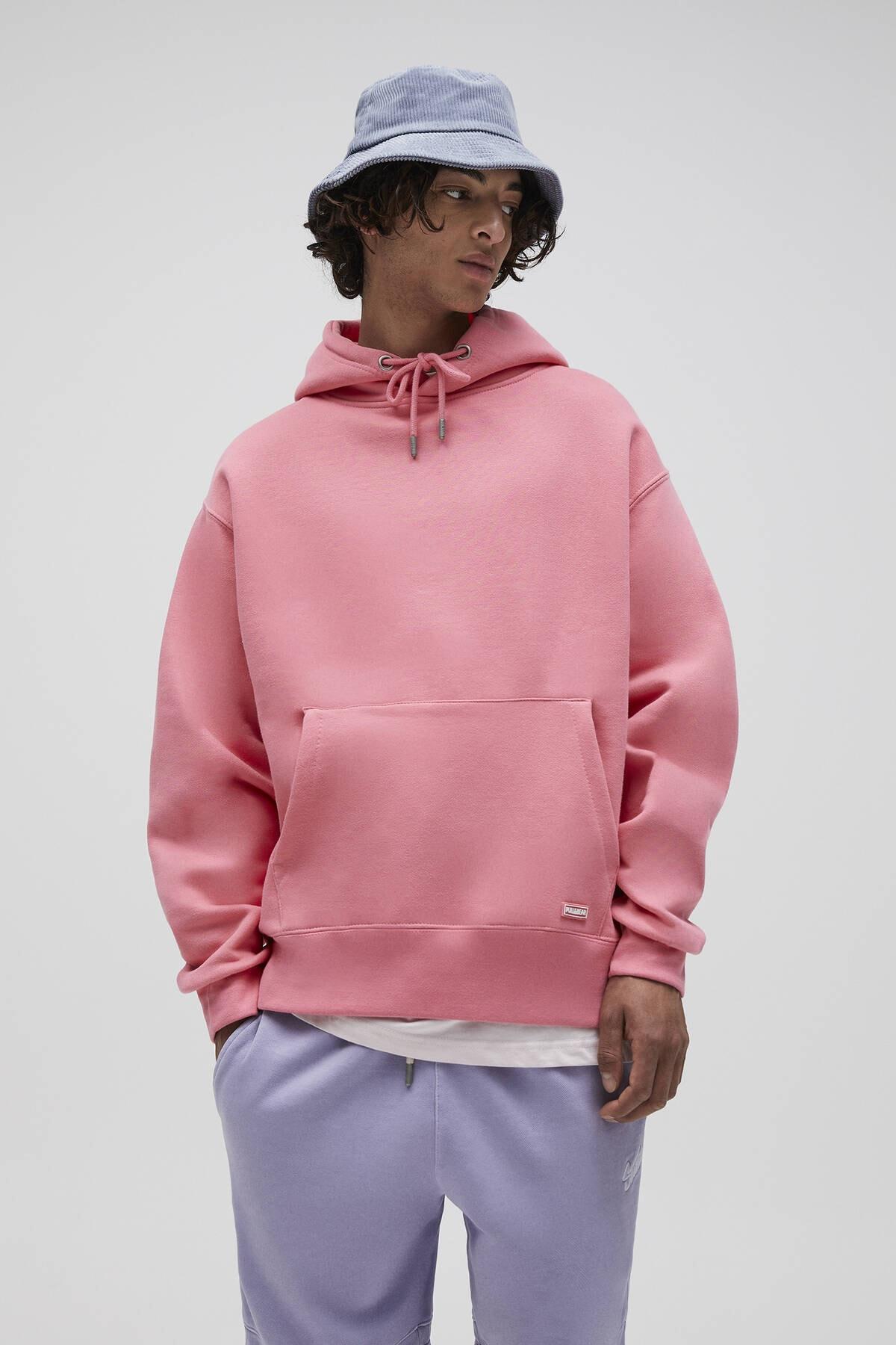 Pull & Bear Erkek Mercan Basic Comfort Fit Kapüşonlu Sweatshirt 09594913 0