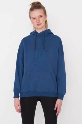 Addax Kadın İndigo Kapüşonlu Sweatshirt S0519 - P10V1 Adx-0000014040 2