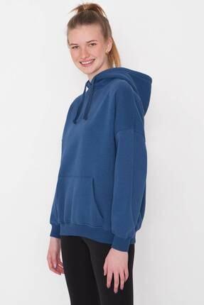 Addax Kadın İndigo Kapüşonlu Sweatshirt S0519 - P10V1 Adx-0000014040 3