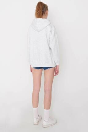 Addax Kadın Kar Melanj Kapüşonlu Sweatshirt S0519 - P10V1 Adx-0000014040 4