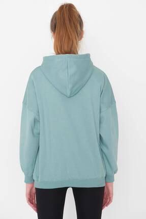 Addax Kadın Mint Kapüşonlu Sweatshirt S0519 - P10V1 Adx-0000014040 4