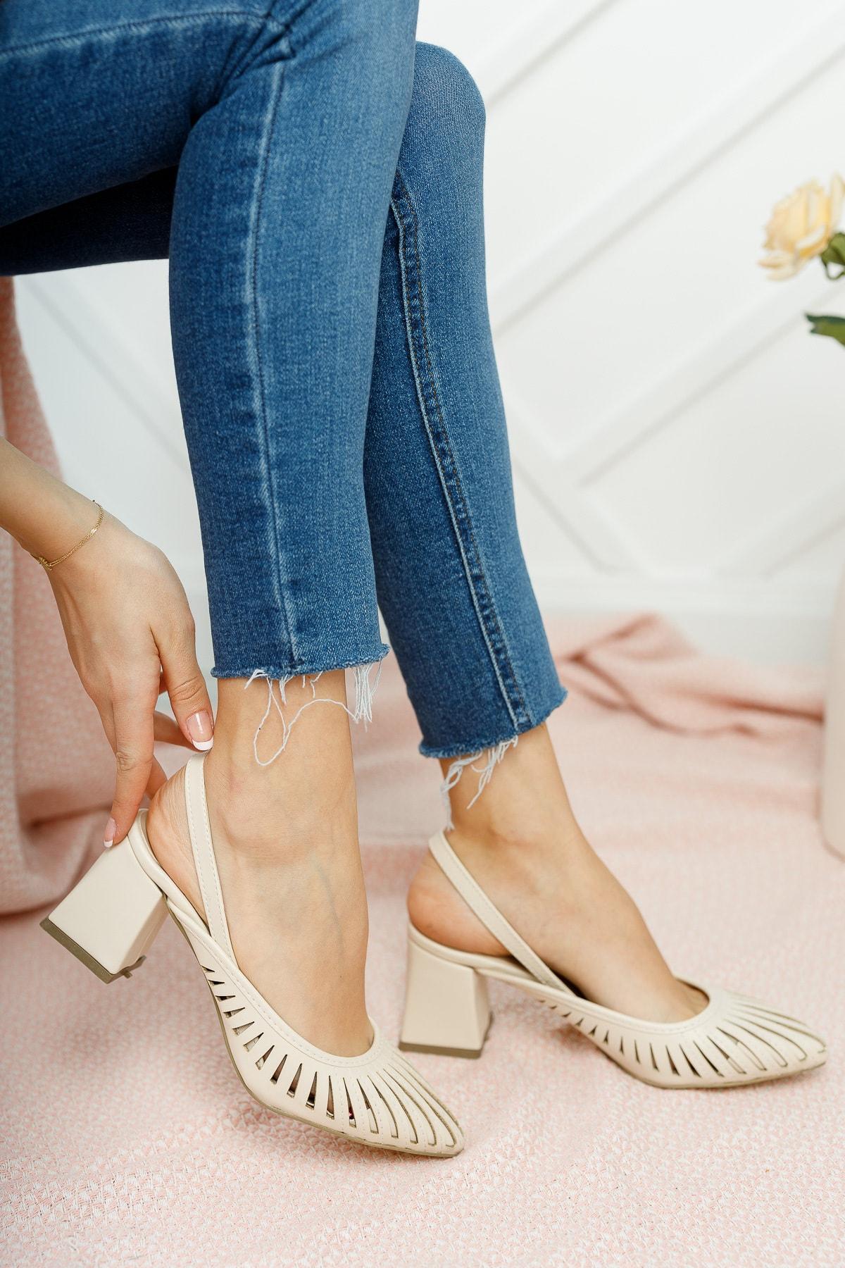 Kadın Ten Cilt Topuklu Ayakkabı Md1042-119-0005