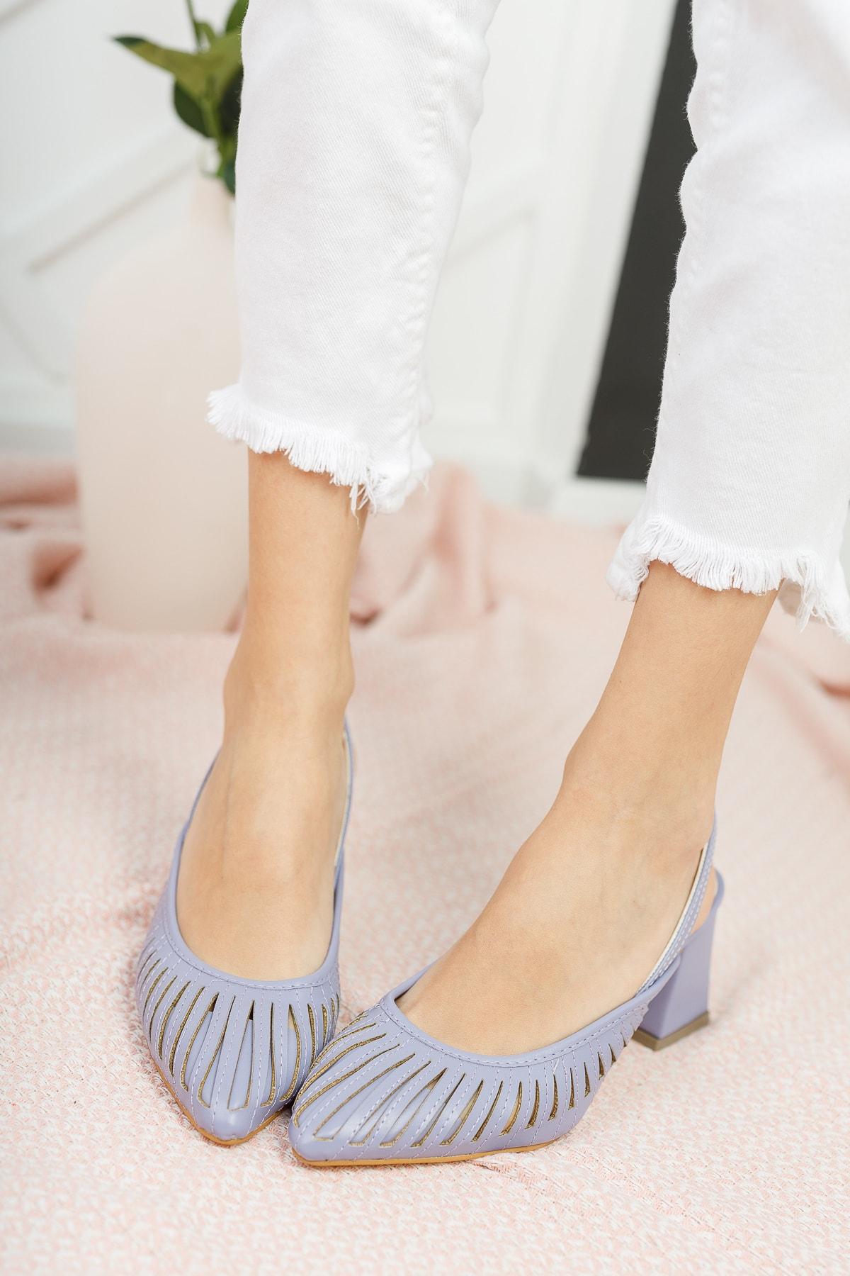 Kadın Lila Cilt Topuklu Ayakkabı Md1042-119-0005