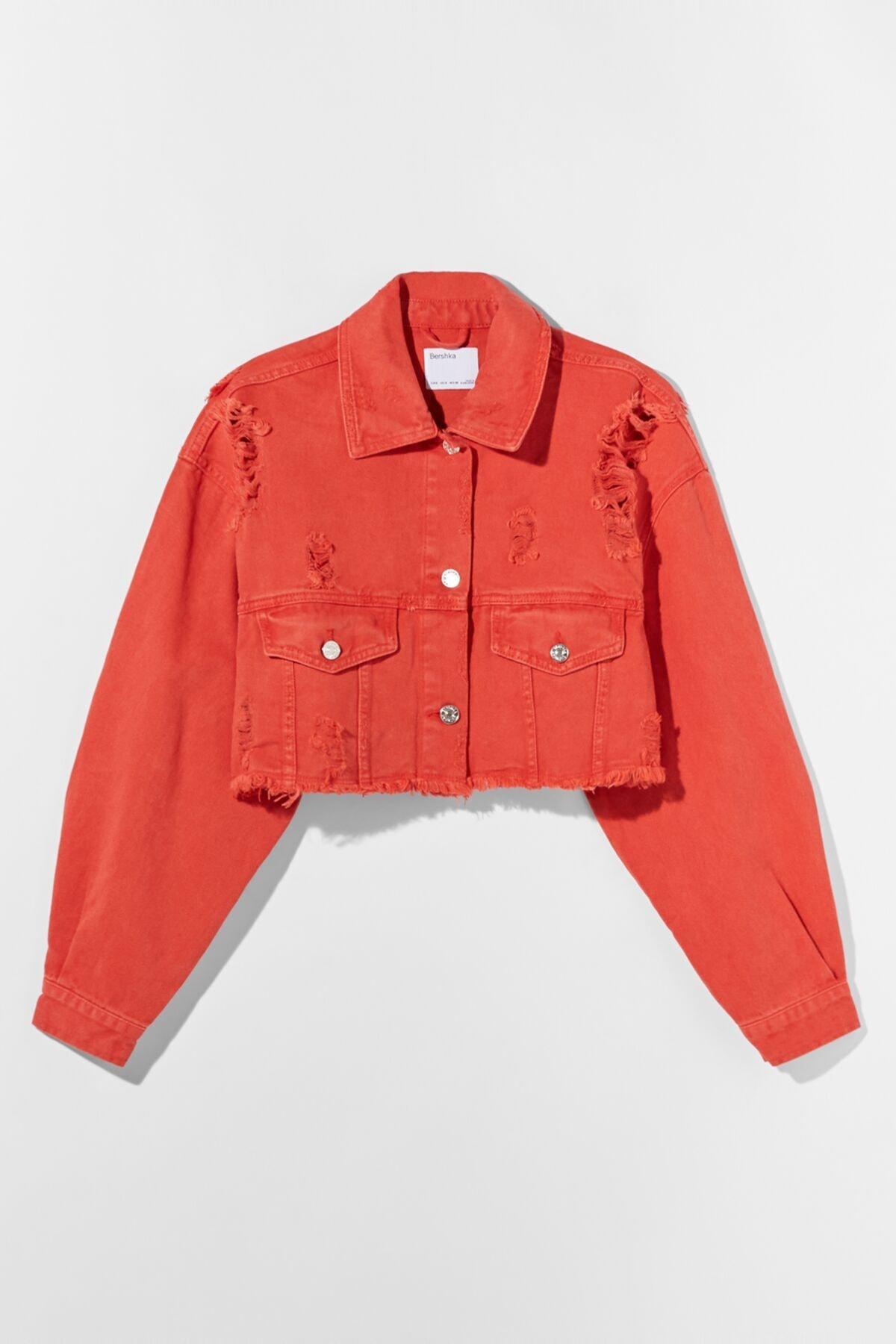 Bershka Kadın Kırmızı Acid Wash Distressed Ceket 01308019 4