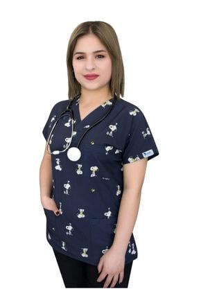 Nur Ortopedi Lacivert Snopy Temalı Doktor Hemşire Hastane Cerrahi Üst Forma Greys 0