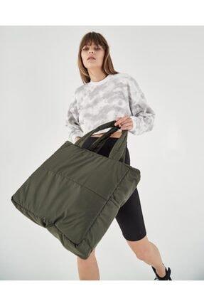 Shule Bags Kabartmalı Puf Kumaş Shopper Çanta Napoli Haki 3