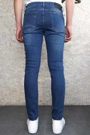 Collezione Collezıone Keven Koyu Mavi Taşlamalı Slim Fit Kot Pantolon 2