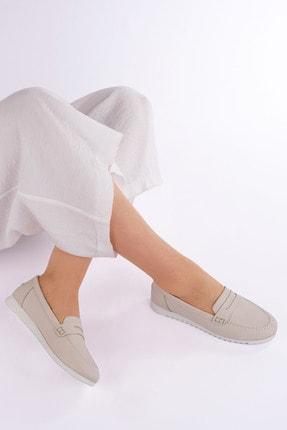 Marjin Kadın Bej Hakiki Deri Loafer Ayakkabı Vonlez 3
