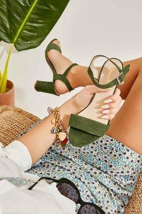 Bambi Yeşil Süet Kadın Klasik Topuklu Ayakkabı K05503740072 0