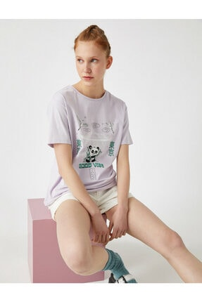 Koton Kadın Mor Bisiklet Yaka T-Shirt 0