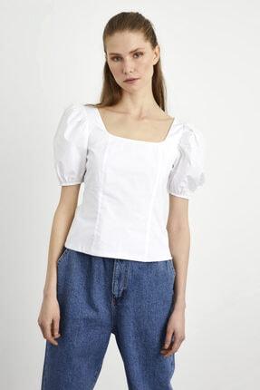 adL Kadın Beyaz  Balon Kol Poplin Bluz 3