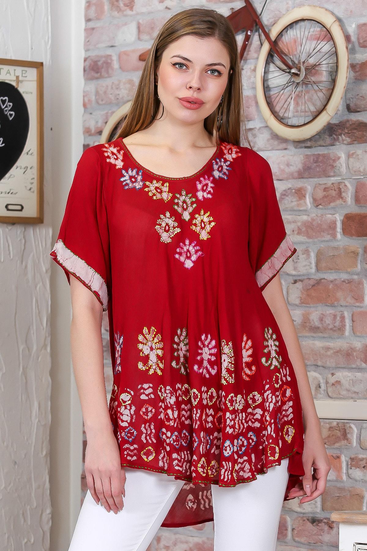 Chiccy Kadın Kırmızı Çiçek Baskılı Nakış Dikişli Kısa Kol Batik Salaş Dokuma Bluz M10010200BL95495 1