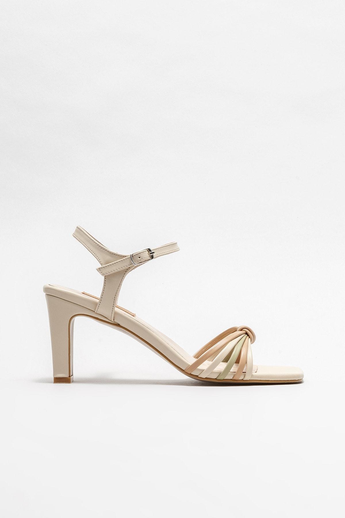 Kadın Ekru Topuklu Sandalet