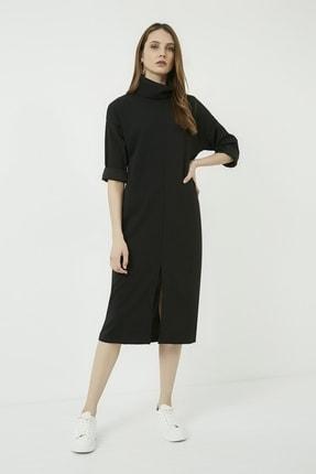 Vis a Vis Kadın Siyah Yırtmaçlı Salaş Boğazlı Elbise 4