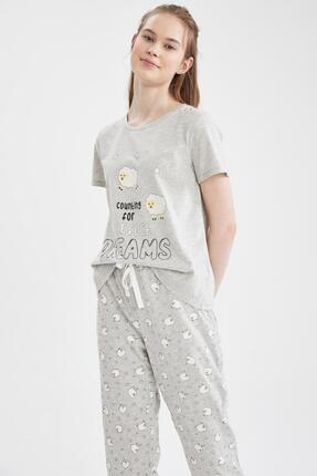 Defacto Relax Fit Kuzu Desenli Kısa Kol Pijama Takımı 1