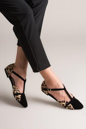 Fox Shoes Leopar Siyah Kadın Ayakkabı B726881802 0