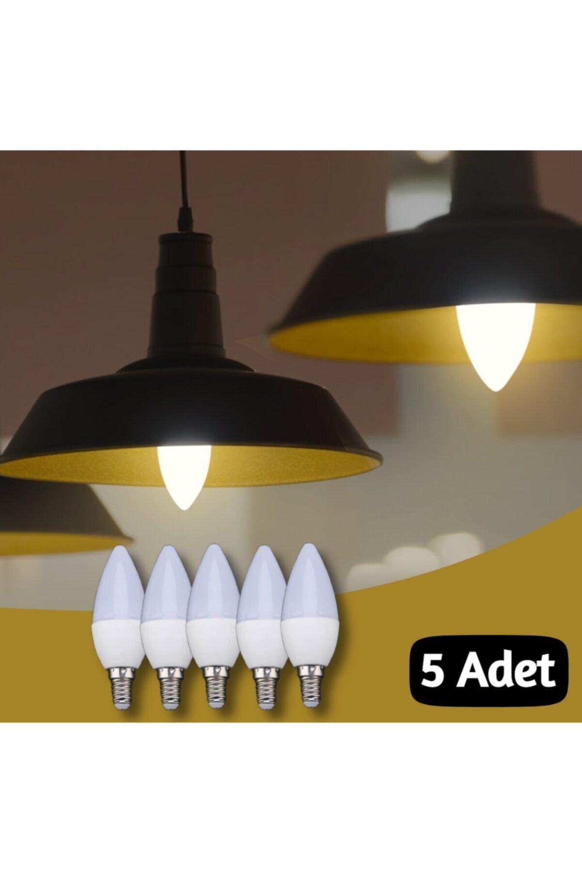 VİE 5 Adet 7 Watt E14 Ince Duy Beyaz Işık Mum Buji Led Ampul