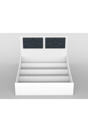 Stoker Loft Serisi Premium Çift Kişilik Başlıklı Lüx Karyola Parlak Beyaz 2
