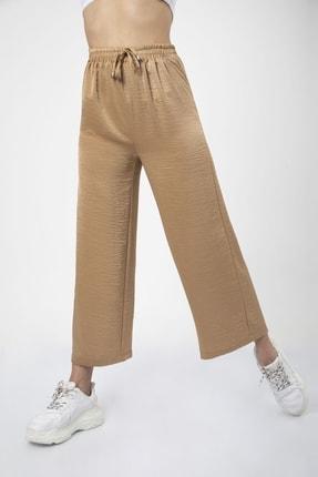 MD trend Kadın Sütlü Kahve Bel Lastikli Bağcıklı Bol Paça Salaş Pantolon 1
