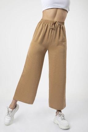 MD trend Kadın Sütlü Kahve Bel Lastikli Bağcıklı Bol Paça Salaş Pantolon 3