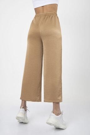 MD trend Kadın Sütlü Kahve Bel Lastikli Bağcıklı Bol Paça Salaş Pantolon 4