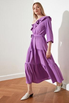 TRENDYOLMİLLA Lila Kuşaklı Tek kollu Elbise TWOSS21EL1942 1