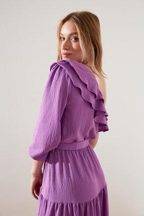 TRENDYOLMİLLA Lila Kuşaklı Tek kollu Elbise TWOSS21EL1942 3
