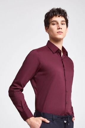 تصویر از Bordo  Twn Slim Fit Bordo Düz Stretch Gömlek
