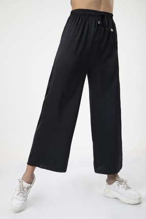 MD trend Kadın Siyah Bel Lastikli Bağcıklı Bol Paça Salaş Pantolon 1