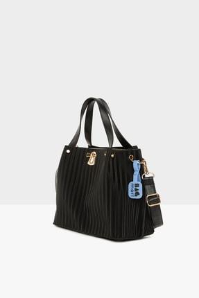 Bagmori Siyah Kadın Üç Bölmeli Anahtar Kilitli Askılı Çanta M000005680 1