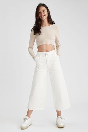 Defacto Kadın Beyaz Culotte Jean Pantolon 0