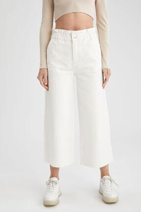 Defacto Kadın Beyaz Culotte Jean Pantolon 1