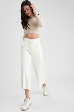 Defacto Kadın Beyaz Culotte Jean Pantolon 3